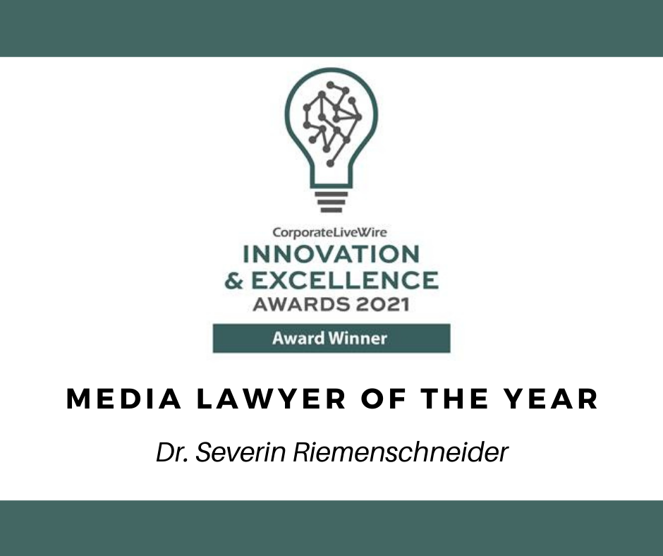 Media Lawyer of the Year - Innovation & Excellence Awards 2021 (Corporate LiveWire)